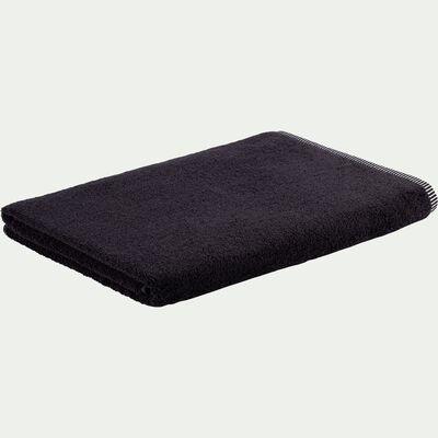 Drap de bain brodé en coton - noir 100x150cm-Romane
