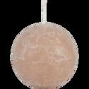 Bougie ronde rose argile D10cm-BEJAIA