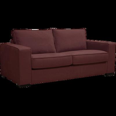 Canapé 2 places convertible en tissu rouge sumac et matelas BULTEX 12cm-CALIFORNIA