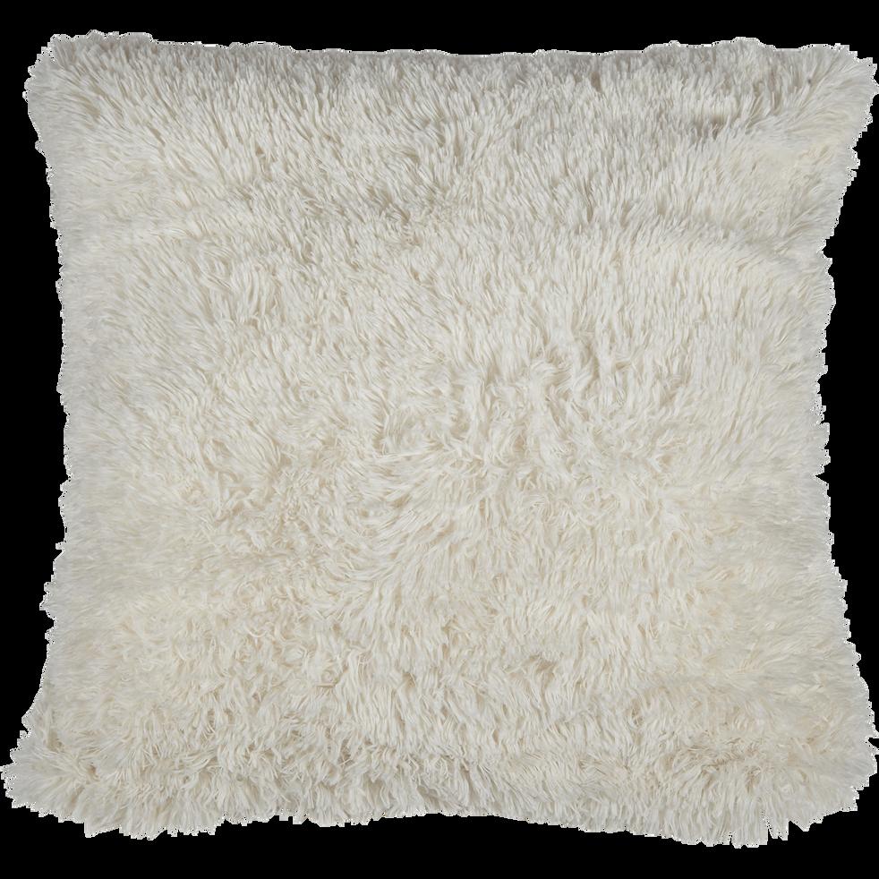 housse de coussin imitation fourrure blanc 65x65cm elec. Black Bedroom Furniture Sets. Home Design Ideas