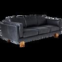 Canapé 3 places fixe en cuir de vachette noir-BROOKLYN