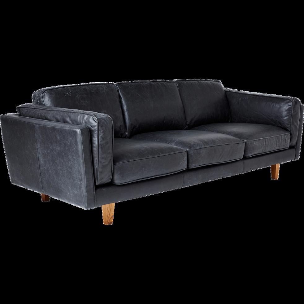 canap 3 places fixe en cuir de vachette noir brooklyn canap s droits en cuir alinea. Black Bedroom Furniture Sets. Home Design Ideas