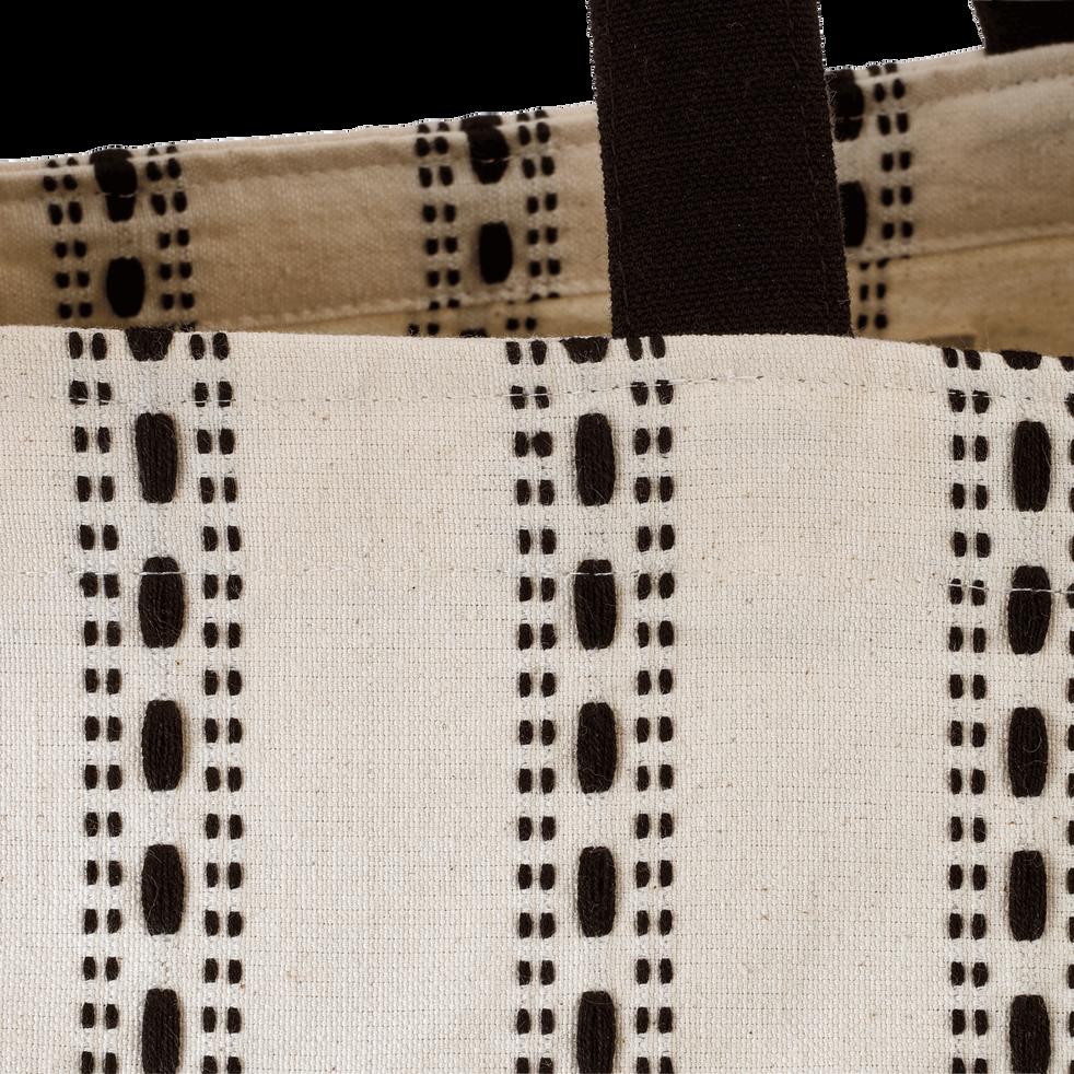 Sac en coton crème et noir 50x60 cm-PISELLI