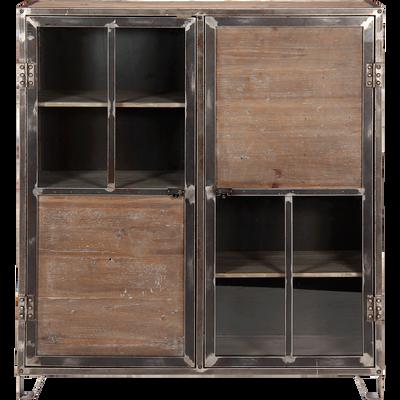 Buffet haut en pin, acier et verre 2 portes-Ware