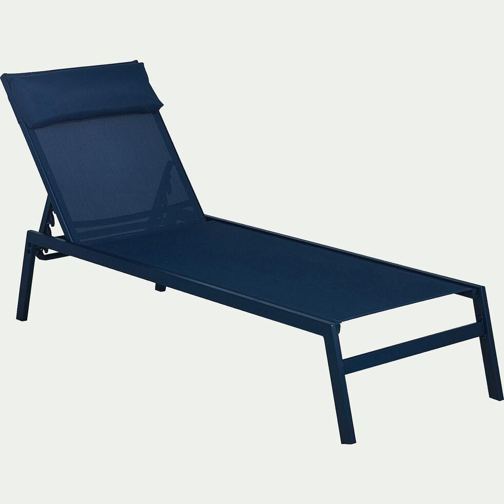 Bain de soleil en métal et textilène - bleu figuerolles-Tycia