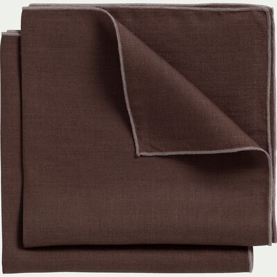 Lot de 2 serviettes de table en lin et coton brun ombre 41x41cm-MILA