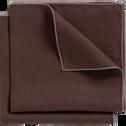 Lot de 2 serviettes de table en lin et coton brun ombre 41x41cm-MILA