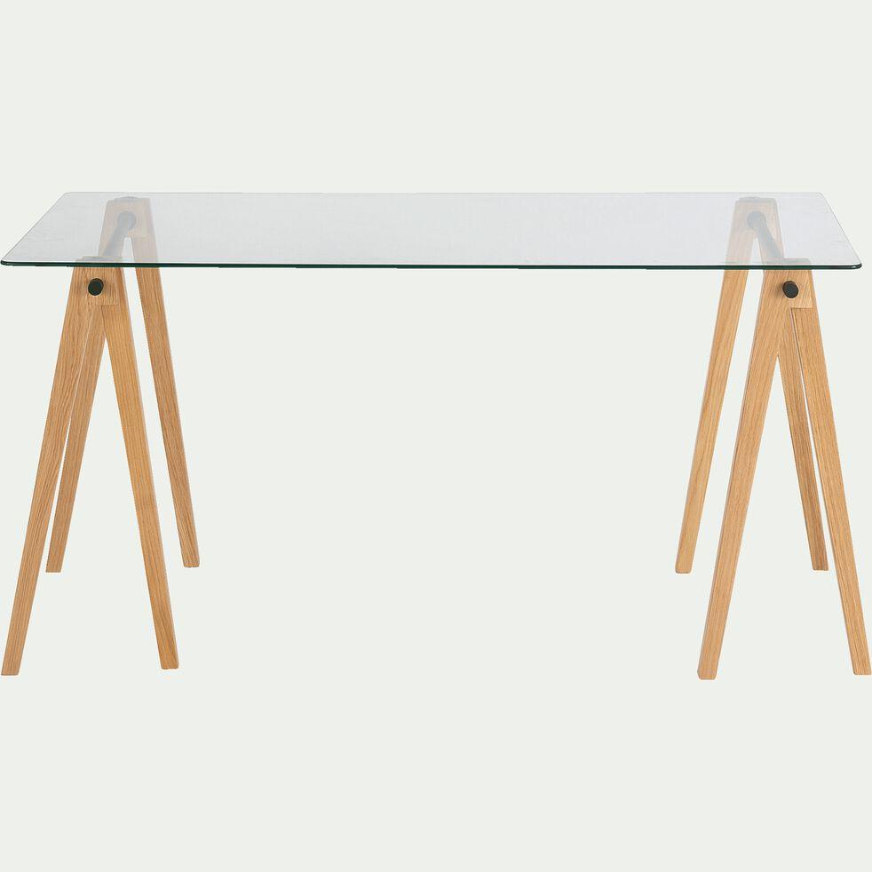 Lot de 2 barres pour former un tréteau de bureau composable - blanc-PUNCIA