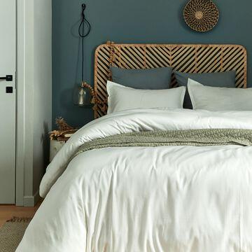 Housse de couette rayée en satin de coton blanc capelan-SANTIS