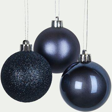 Lot de 10 boules de Noël bleu D6cm-PERI