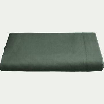 Drap plat en percale de coton - vert cèdre 270x300cm-FLORE