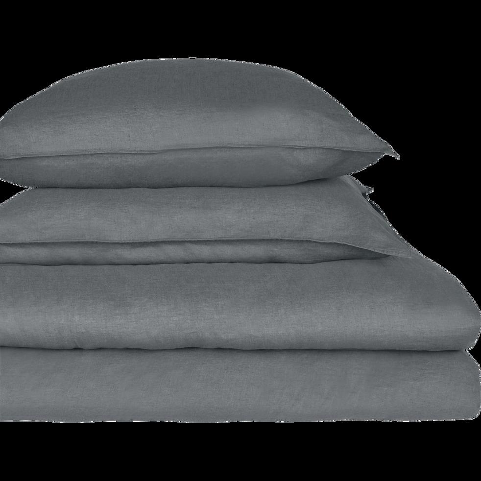 drap housse en lin gris restanque 140x200cm bonnet 28cm vence 140x200 cm catalogue. Black Bedroom Furniture Sets. Home Design Ideas
