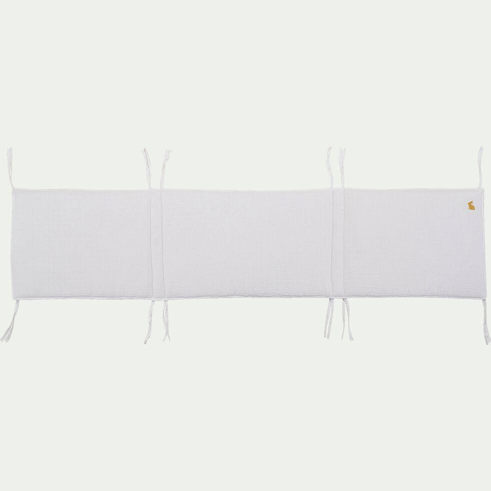 Tour de lit bébé en gaze de coton bio avec broderie lurex - blanc-Nuage