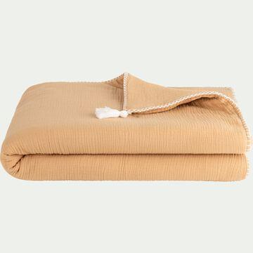 Plaid en gaze de coton 100x150 cm - Beige nèfle-AZALEE