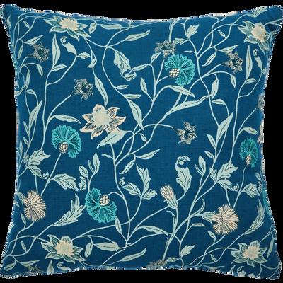 Coussin en lin et coton à motif bleu 45x45cm-ASMARA