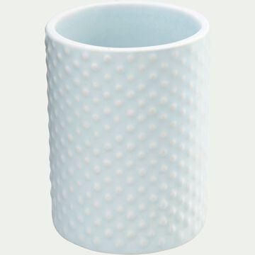 Porte brosse à dent en céramique relief - bleu amandier-NARCISSE