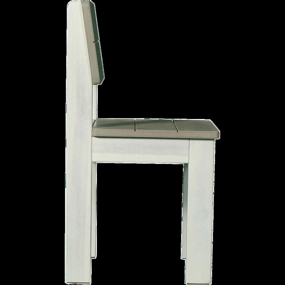 Chaise en acacia blanche et grise pour enfant-JULES