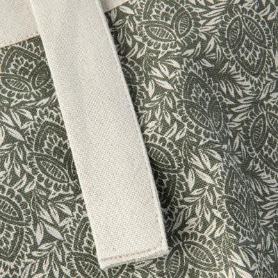 Tablier à motifs amande en coton vert-AMANDE