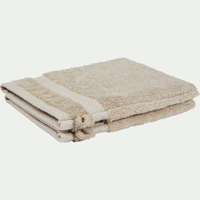 Lot de 2 gants de toilette en coton peigné - beige alpilles-AZUR