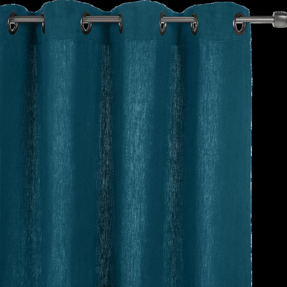 Rideau à oeillets en lin lavé bleu figuerolles 140x280cm - VENCE ...