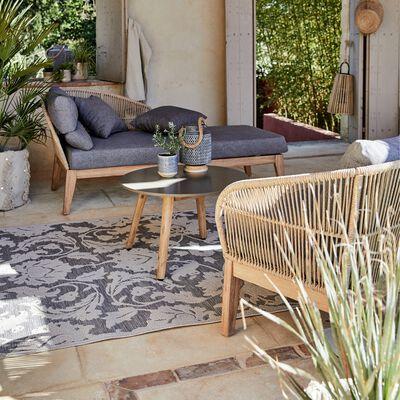 Salon de jardin en eucalyptus - cordes - acacia et pierre (3 places) - gris