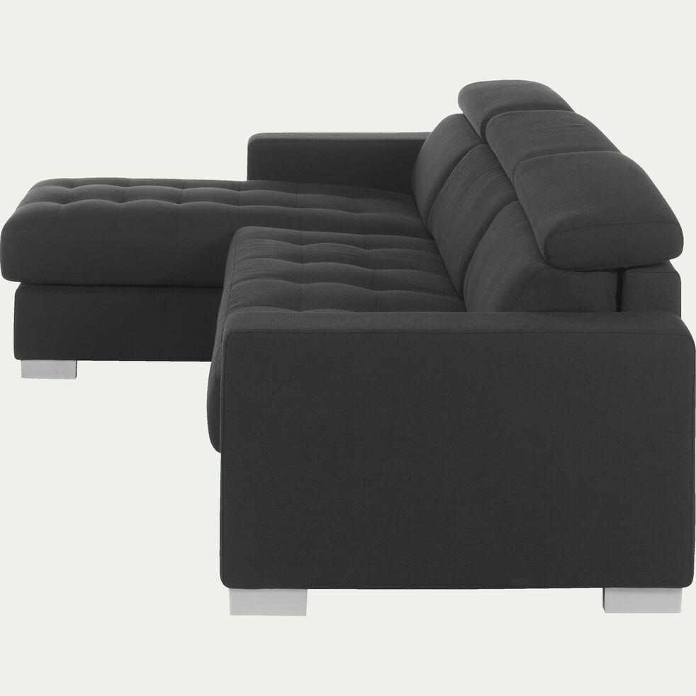 Canapé d'angle réversible fixe en tissu - gris foncé-Mauro