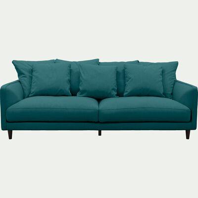Canapé 4 places fixe en tissu bleu niolon-LENITA