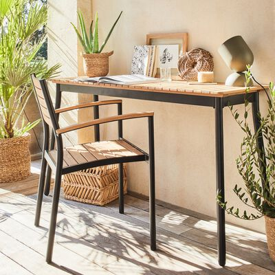 Ensemble table de balcon et chaise en aluminium et eucalyptus - naturel