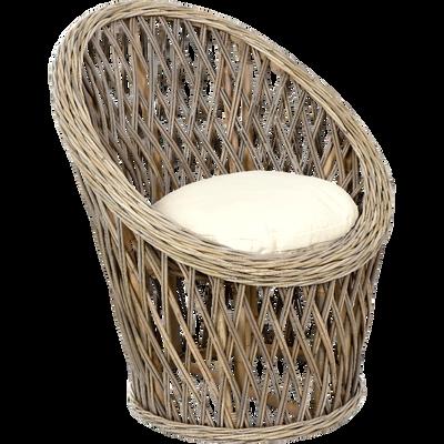 Fauteuil de jardin relax gris en rotin tissé croisé-CASABLANCA