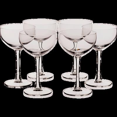 Lot de 6 coupes à champagne en verre transparent 24cl-PAROS