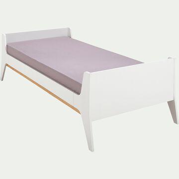 Lit 1 place enfant en bois 90x190cm - blanc-CHAT PERCHE