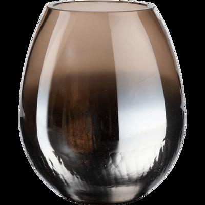 Photophore en verre brun craquelé D12xH15-ZETA