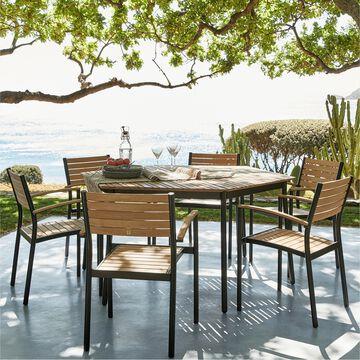 Ensemble table et chaise de jardin en aluminium et eucalyptus - naturel