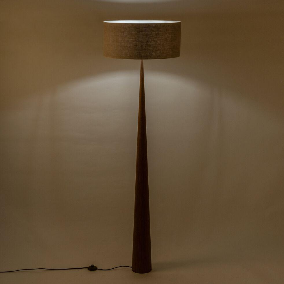 Lampadaire en bois foncé - gris D50cm-KONE
