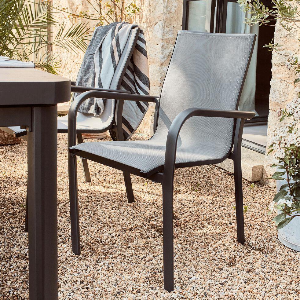 Chaise de jardin empilable avec accoudoirs gris restanque-SICILE