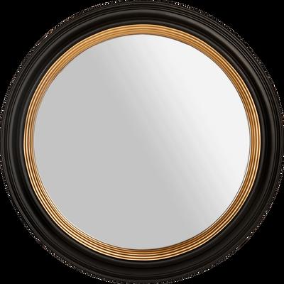 Miroir rond en bois noir et doré D60 cm-MONZA