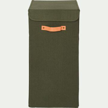 Panier à linge en polycoton - vert cèdre H60xL30cm-ERRO