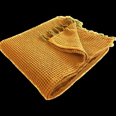 Plaid en coton curry effet nid d'abeille 130x150cm-HONEY