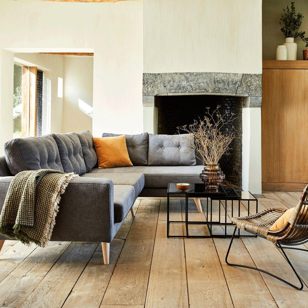Canapé d'angle fixe droit en tissu gris-ICONE