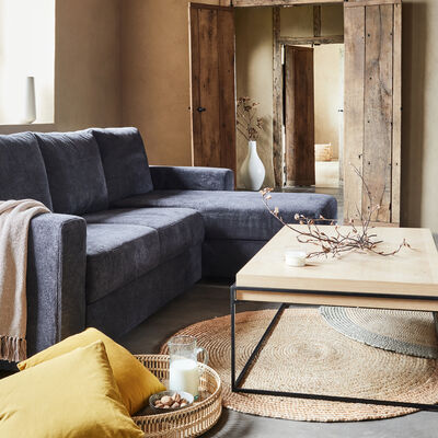 Canapé d'angle réversible 4 places convertible - bleu calabrun-HONORE