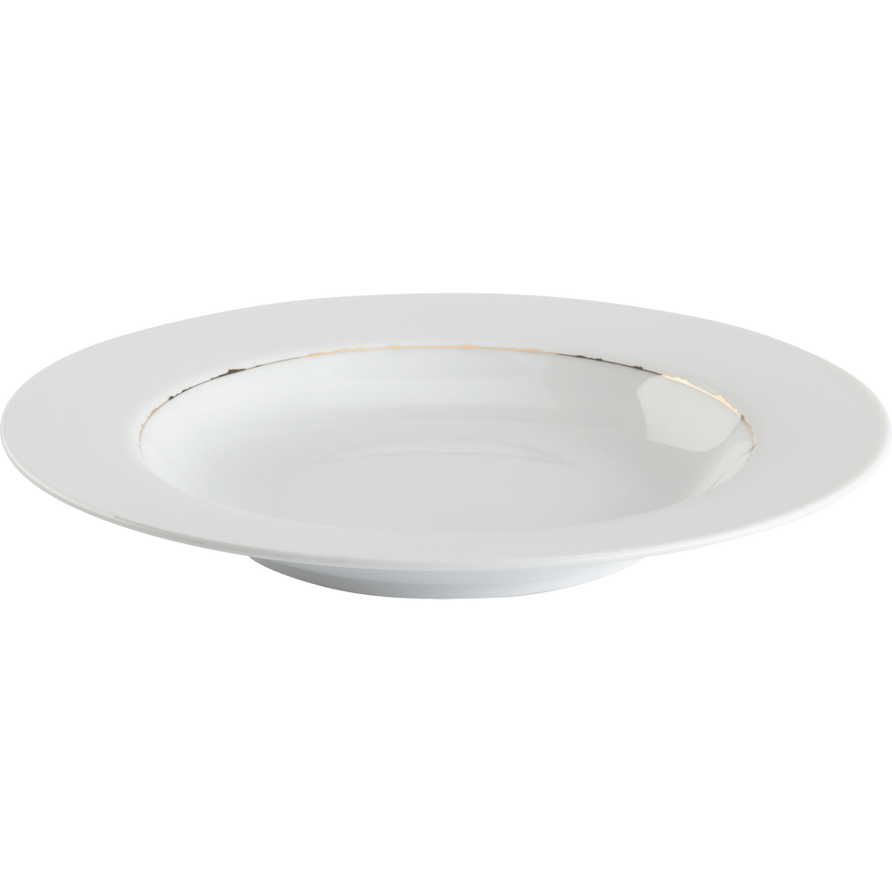 Assiette creuse en porcelaine blanche et dorée D23cm-REINE