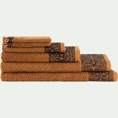 Linge de toilette en coton bouclette marron