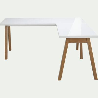 Bureau d'angle avec piétement en bois massif blanc-OSLO