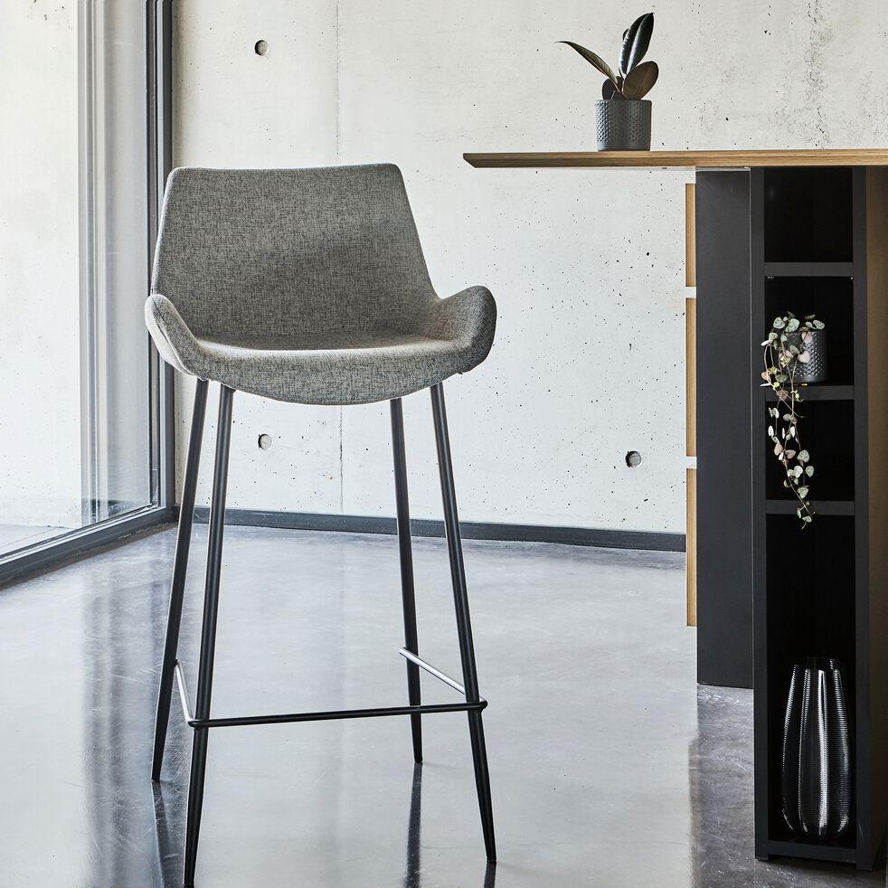 GEDEON - Chaise de bar en tissu gris anthracite H6cm