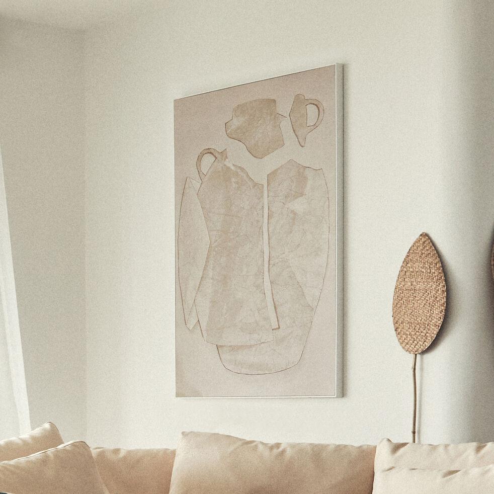Toile imprimée motif jarre - beige 71x101cm-HIERRO