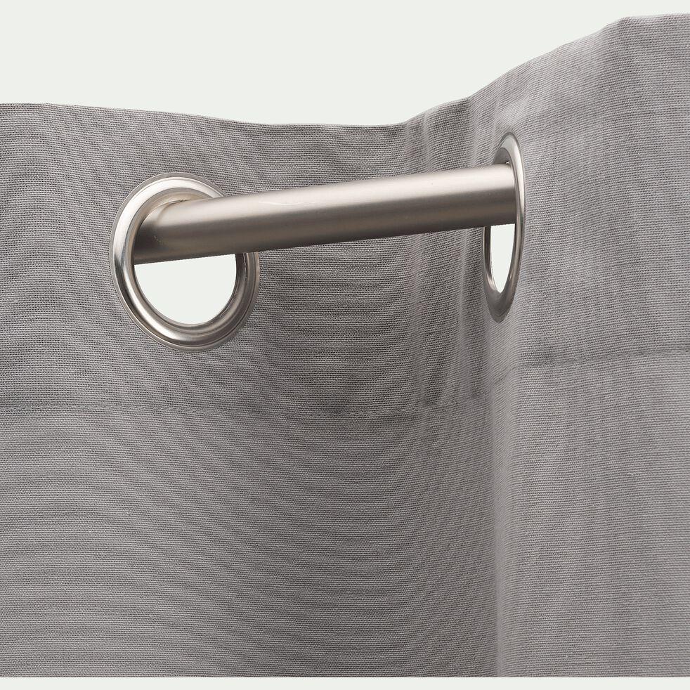 Rideau à oeillets en coton - gris restanque 140x250cm-CALANQUES