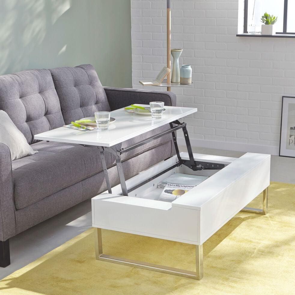 Table Basse Blanche Avec Tablette Relevable Novy Table Basse Alinea