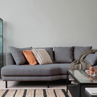 Canapé 5 places fixe gauche en tissu gris restanque-TESSOUN