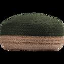 Pouf en jute coloris naturel et vert cèdre 50x50x20cm-NAÏA