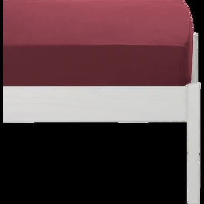 Drap housse en coton lavé rouge sumac 90x200 cm-CALANQUES